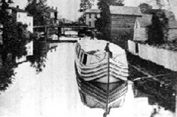 Drawing of a boat at the dock near Conneaut Outlook and Conneaut Marsh area in what is now known as Conneaut Lake, PA.
