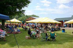 Groups of attendees enjoying our June Father's Day Picnic Event.
