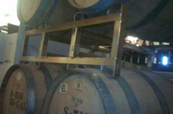 Gewurztraminer being aged in oak barrels at Conneaut Cellars Winery.